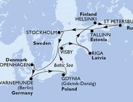 11 Noches por Alemania, Polonia, Suecia, Letonia, Finlandia, Rusia, Estonia, Dinamarca a bordo del MSC Poesia