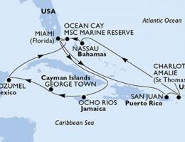 14 Noches por Estados Unidos, Jamaica, Gran Caimán, México, Bahamas, Puerto Rico, Islas Vírgenes (Estadounidenses) a bordo del MSC Seaside