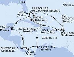 18 Noches por Estados Unidos, Puerto Rico, Islas Vírgenes (Británicas), Antillas Holandesas, Bahamas, Jamaica, Colombia, Panamá, Costa Rica, México a bordo del MSC Divina