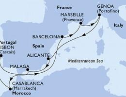 10 Noches por España, Francia, Italia, Marruecos, Portugal a bordo del MSC Virtuosa