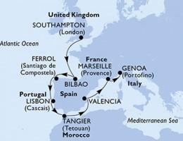 10 Noches por Francia, España, Portugal, Marruecos, Francia, Italia a bordo del MSC Magnifica