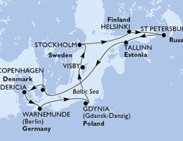 11 Noches por Alemania, Polonia, Suecia, Finlandia, Rusia, Estonia, Dinamarca a bordo del MSC Poesia